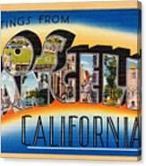 Los Angeles Vintage Travel Postcard Restored Canvas Print