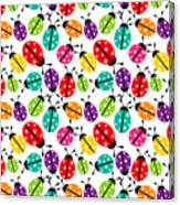 Lots Of Crayon Colored Ladybugs Canvas Print