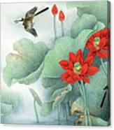Lotus And Kingfisher Canvas Print