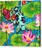 Lotus  Flower  And  Koi Fish Canvas Print