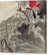 Lotus Mandarin Duck Canvas Print