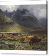 Louis Bosworth Hurt 1856-1929 Highland Cattle In A Glen Canvas Print