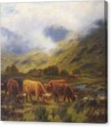 Louis Bosworth Hurt British 1856 - 1929 Highland Cattle Canvas Print