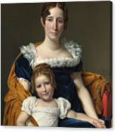 Louis David   Portrait Of The Comtesse Vilain Xiiii And Her Daughter Canvas Print