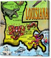 Louisiana Cartoon Map Canvas Print
