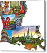 Louisiana Map - New Orleans Canvas Print
