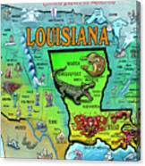 Louisiana Usa Cartoon Map Canvas Print