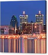 Louisville Panoramic At Blue Hour Canvas Print
