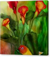 Love Among The Lilies  Canvas Print