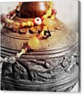 Love Bracelet On Wooden Vase Canvas Print
