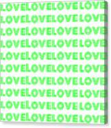 Love In Green Neon Canvas Print