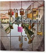Love Lock Triangle At Naviglo Grande Milan Italy  Canvas Print