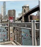 Love Locks In Brooklyn New York Canvas Print