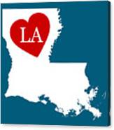 Love Louisiana White Canvas Print