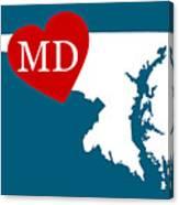 Love Maryland White Canvas Print