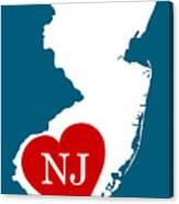 Love New Jersey White Canvas Print