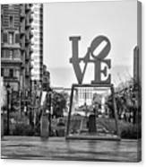 Love On The Parkway In Black And White Canvas Print