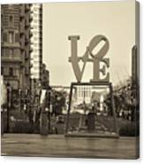 Love On The Parkway In Sepia Canvas Print