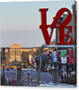 Love Park And The Parkway In Philadelphia Canvas Print