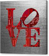 Love Sign Philadelphia Recycled Red Vintage License Plates On Aluminum Sheet Canvas Print