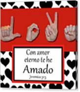 Love Spanish Bw Graphic Canvas Print