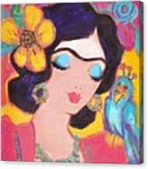 Lovely Frida And Little Blue Parrot Canvas Print