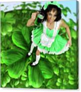 Lovely Irish Girl With A Glass Of Green Beer Canvas Print