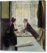 Lovers In A Cafe Canvas Print
