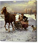 Lovers In A Sleigh Canvas Print