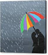 Lovers In The Rain Canvas Print