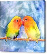 Lovey Dovey Lovebirds Canvas Print