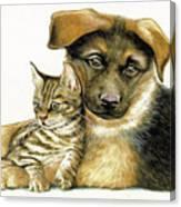 Loving Cat And Dog Canvas Print