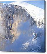 Low Angle View Of A Mountain Covered Canvas Print