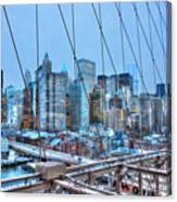 Lower East Side At Dusk From The Brooklyn Bridge Canvas Print