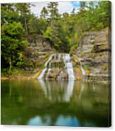 Lower Falls Reflection Of Enfield Glen Canvas Print