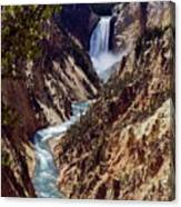 Lower Yellowstone Falls And River Canvas Print