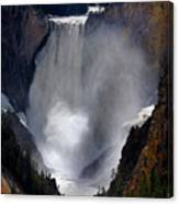 Lower Yellowstone Waterfall Falls In Canyon National Park Canvas Print