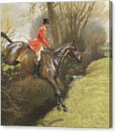 Lt Col Ted Lyon Jumping A Hedge Canvas Print