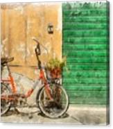 Lucca Italy Bike Watercolor Canvas Print
