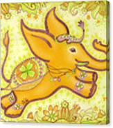 Lucky Elephant Orange Canvas Print