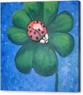 Lucky Ladybug on 4-Leaf Clover Canvas Print