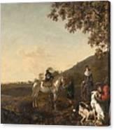 Ludolph De Jongh And Joris Van Der Hagen 1616 Rotterdam - Hillegersberg 1679 Or 1615 Hunting Party A Canvas Print