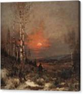 Ludwig Deutsch, Hunting In The Winter Canvas Print