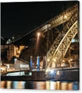 Bridge Dom Luis At Night. Porto Canvas Print
