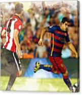 Luis Suarez Takes The Ball Past Athletic Bilbao's Eneko Boveda A Canvas Print