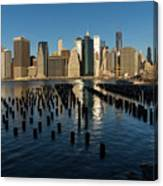 Luminous Blue Silver And Gold - Manhattan Skyline And East River Canvas Print