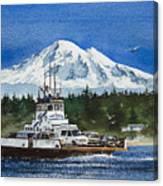 Lummi Island Ferry And Mt Baker Canvas Print