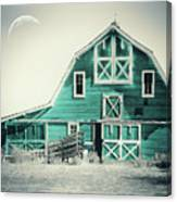 Luna Barn Teal Canvas Print