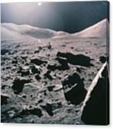 Lunar Rover At Rim Of Camelot Crater Canvas Print