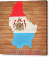 Luxembourg Rustic Map On Wood Canvas Print